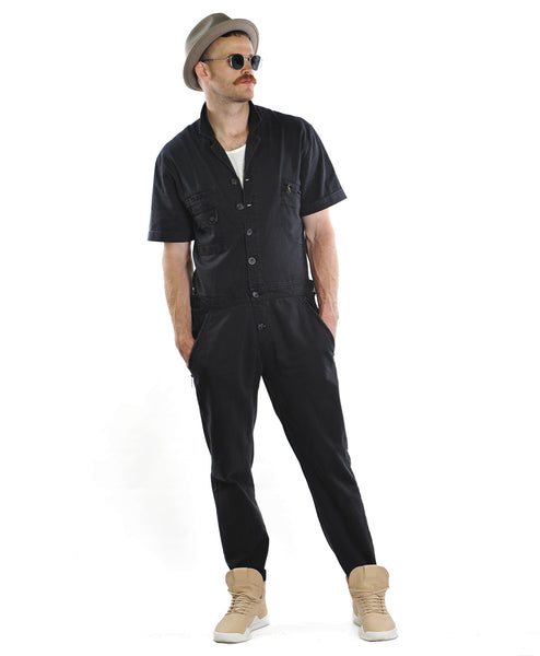 Washed Cotton Jumpsuit | Black