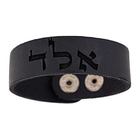 "BLACK LEATHER SNAP BRACELET WITH ""PROTECTION AGAINST EVIL EYE"" ANGEL"