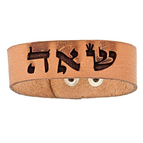 "TAN LEATHER SNAP BRACELET WITH ""SOULMATE"" ANGEL"