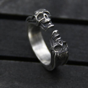 Double Skull Ring (925 Silver)