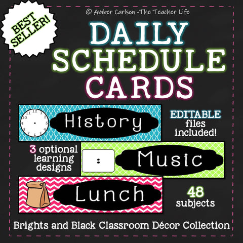 """Brights and Black"" Daily Schedule Cards [Editable]"