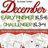 December Early Finisher/Challenger Packet [Grades 3-6]