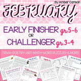 February Early Finisher/Challenger Packet [Grades 3-6]
