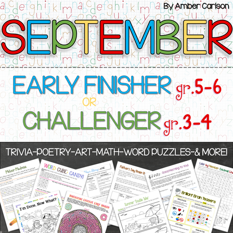 September Early Finisher/Challenger Packet [Grades 3-6]