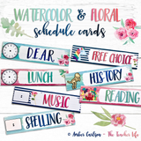 Watercolor & Floral Daily Schedule Cards-Editable!