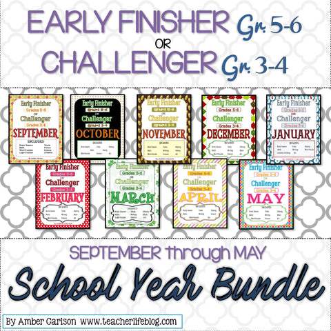 Early Finisher/Challenger Packet School-Year Bundle [Grades 3-6]