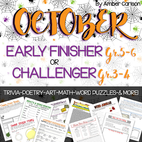 October Early Finisher/Challenger Packet [Grades 3-6]