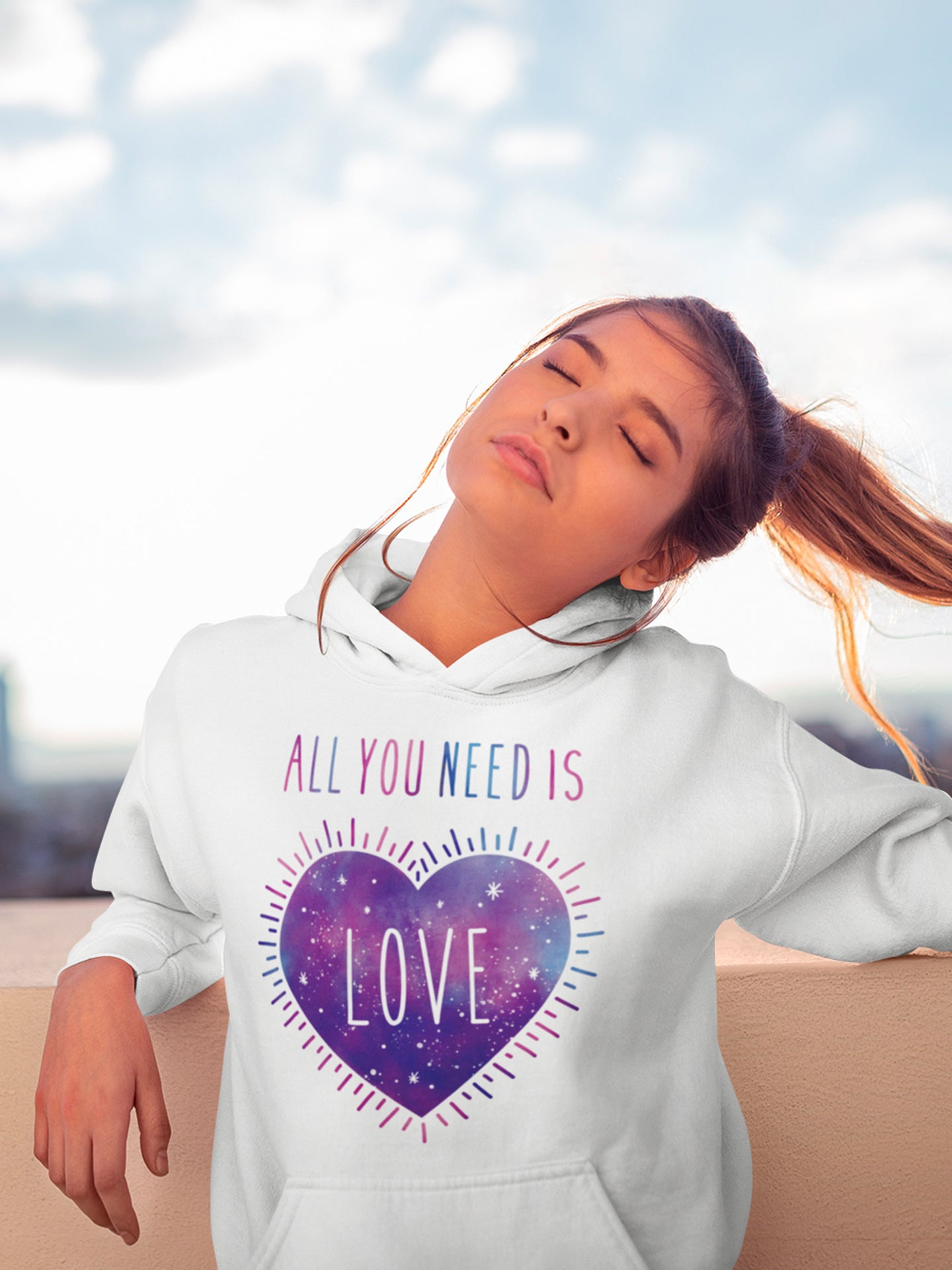 All you need is love hoodie - vegan