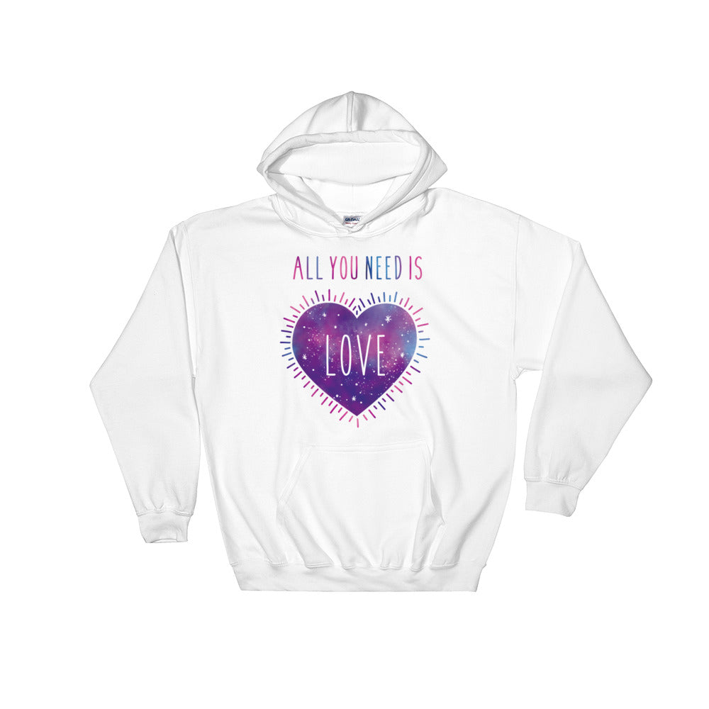 All you need is love hoodie - vegan - galaxy