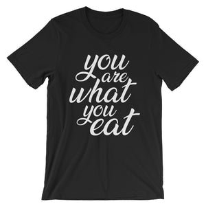 You are what you eat - Woman's vegan t-shirt - black color