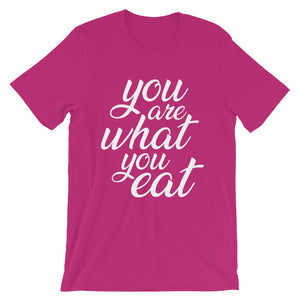You are what you eat - Woman's vegan t-shirt - Berry color