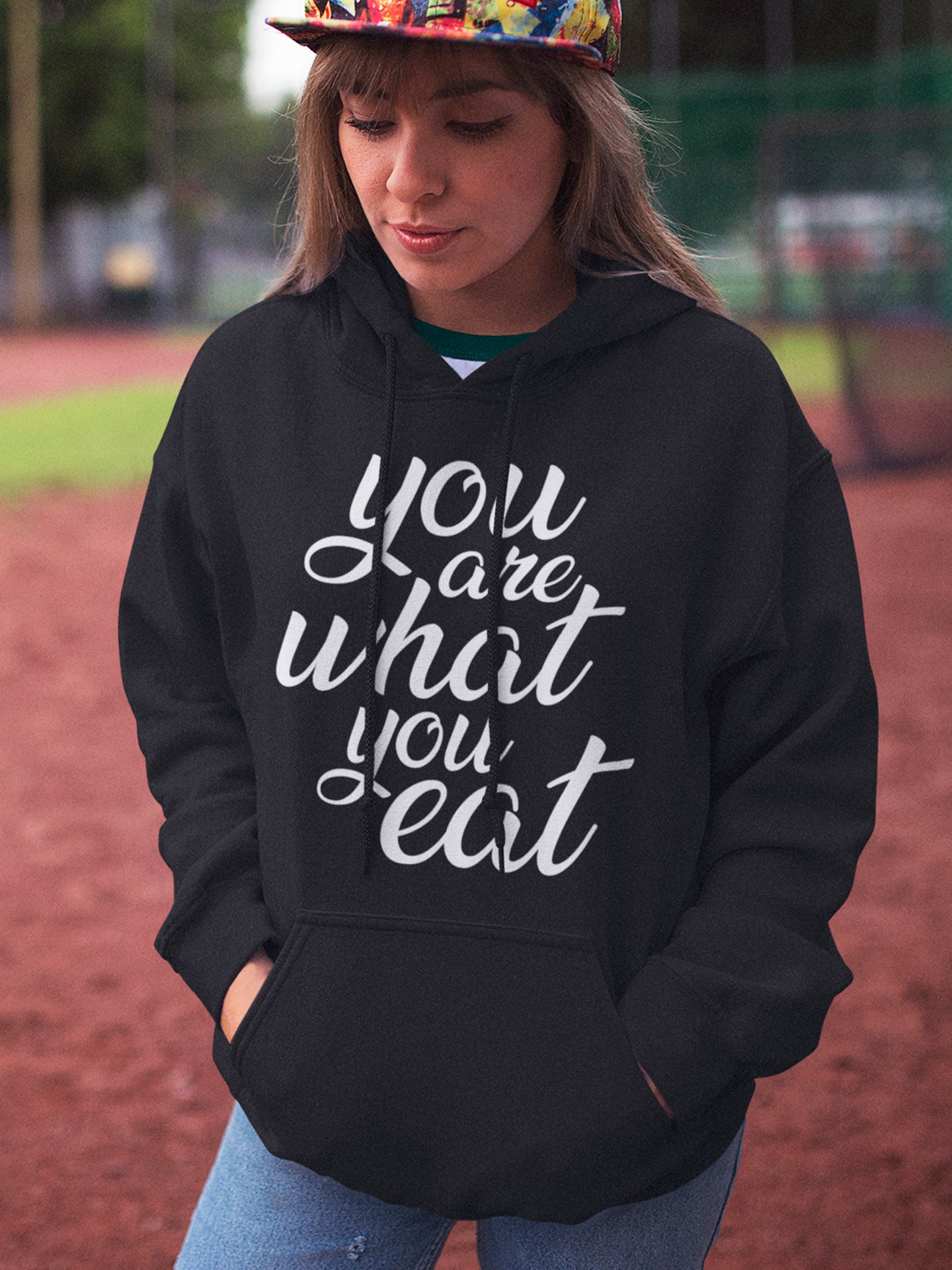 You are what you eat - Woman's vegan hoodie
