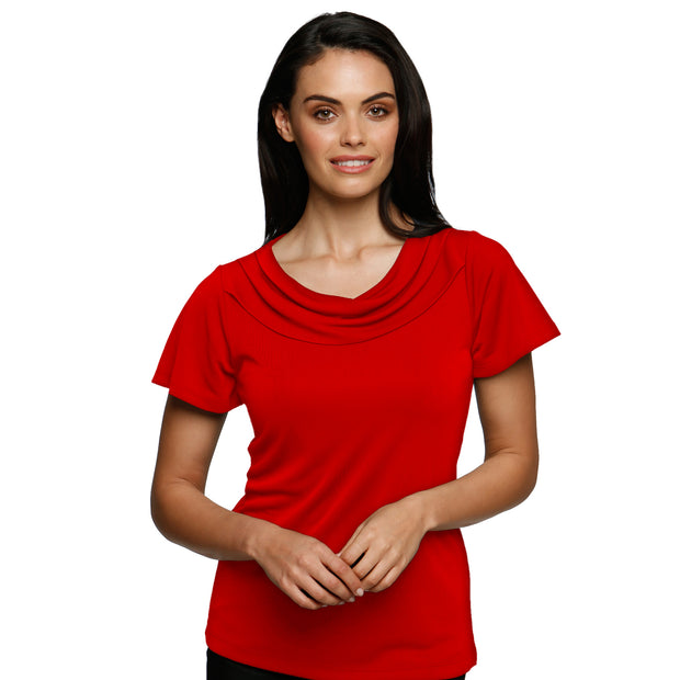 City Collection Eva Clever Cowl Short Sleeve - Womens