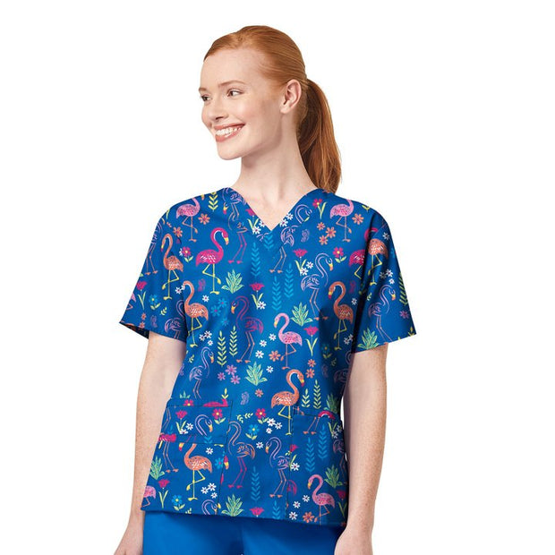 Wonderwink Origins Printed Scrub Tops - Be Flamazing