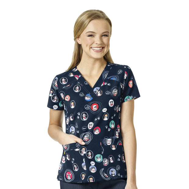 Wonderwink Fourstretch Printed Scrub Tops - Portrait Pals