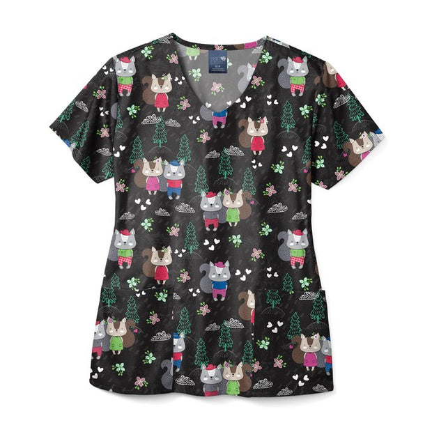 Zoe and Chloe Printed Scrub Top - Squirrelly Nutkins