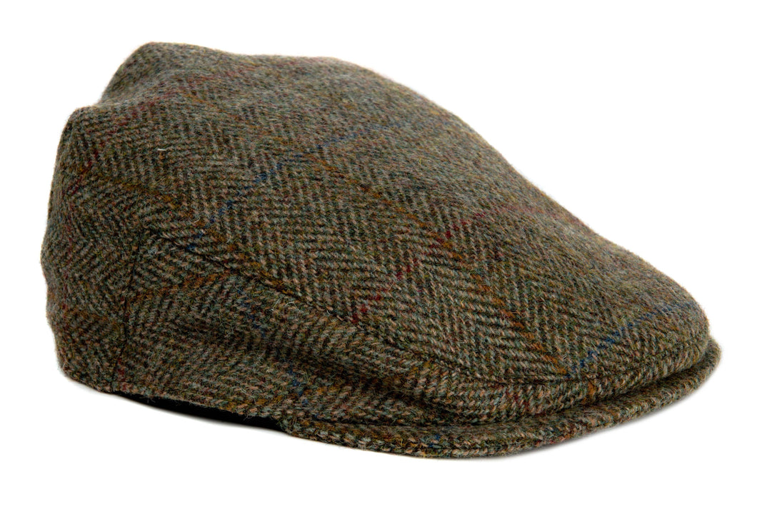 Bronte Moon - Harris Tweed Herringbone Flat Cap Hat - Moss Green - Unisex