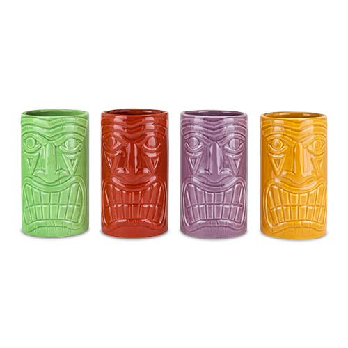 TRUE - Beachcomber Ceramic Tiki Mugs in Assorted Colors by True
