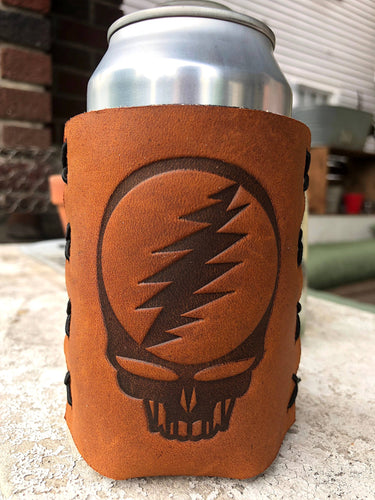 Jimmyrockit - Steal Your Face Grateful Dead Leather Can Cooler - koozie