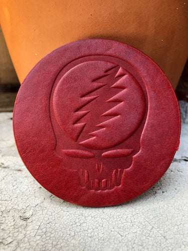 Jimmyrockit - Steal Your Face Grateful Dead Leather Coaster