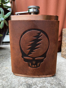 Jimmyrockit - Steal Your Face Grateful Dead Leather Wrapped Flask