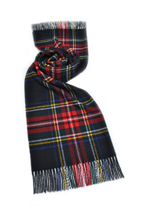 Black Stewart Tartan Shawl - Merino Lambswool - Made in UK