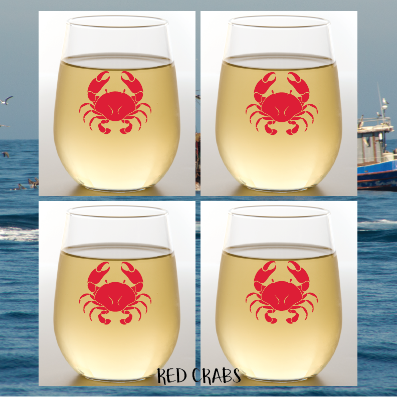 RED CRAB Shatterproof Wine Glasses