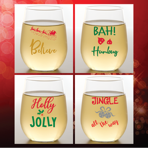 HOLLY JOLLY Shatterproof Wine Glasses