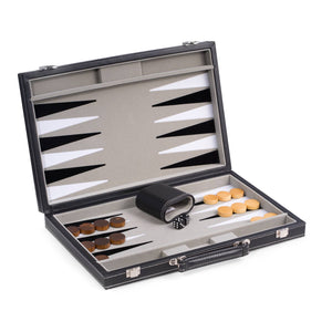 "BeyBerk International - 15"" Black Leatherette  Backgammon Set"