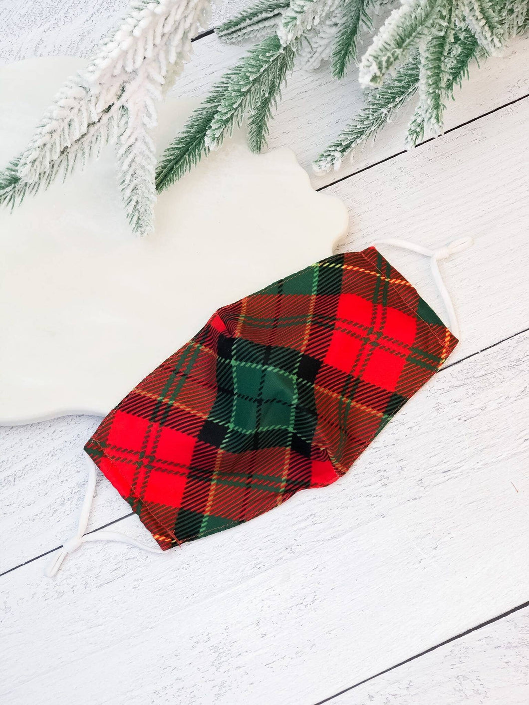 Adult Printed Face Mask - Christmas Plaid