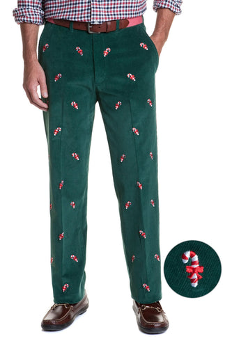 Embroidered Corduroy Holiday Pants