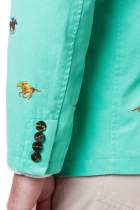 Spinnaker Jacket-Palm Green with Racehorses