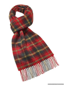 Dark Maple Tartan Scarf - Merino Lambswool - Made in the UK