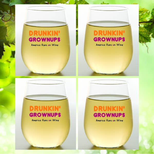 DRUNKIN' GROWNUPS Shatterproof Wine Glasses