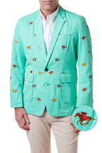 Load image into Gallery viewer, Spinnaker Jacket-Palm Green with Racehorses