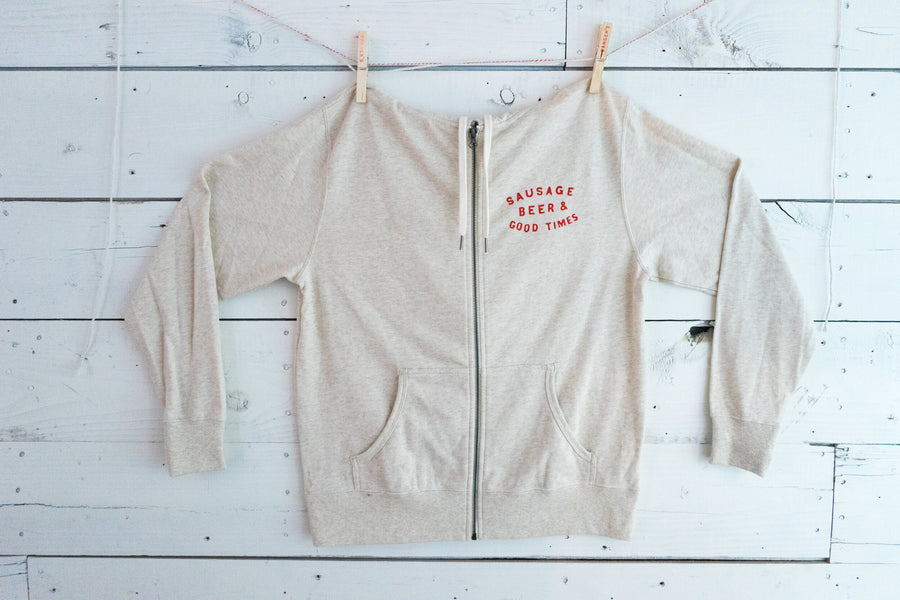 OATMEAL HEATHER & RED FRENCH TERRY HOODIE