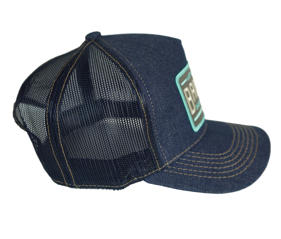 6-PANEL NET BACK TRUCKER HAT (LIMITED EDITION) Grey & Aqua