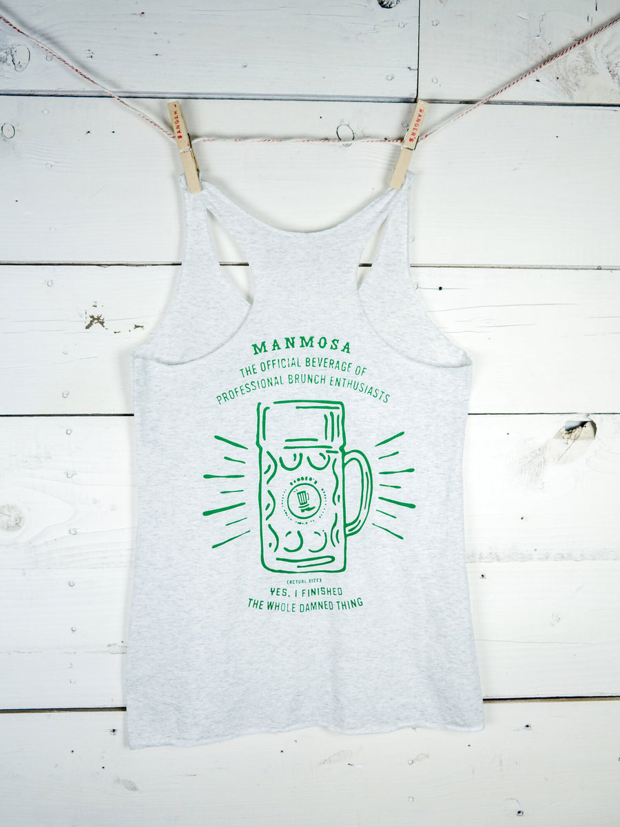 HEATHER WHITE/GREEN LADIES TRI-BLEND JERSEY RACERBACK TANK (LIMITED EDITION)