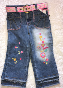 Barbie Wide-Leg Capri Style Floral Embroidered Jeans