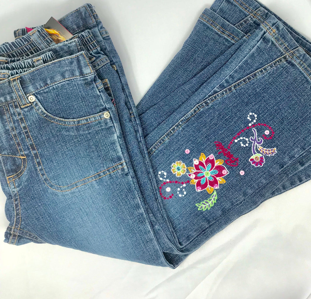 Barbie Flowered Embroidered Flared Jeans