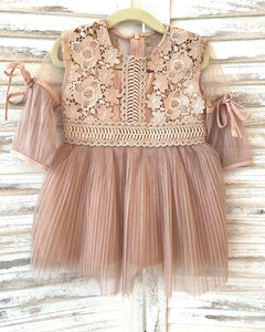 Cocoa 3/4 SLV Pleated Lace Dress
