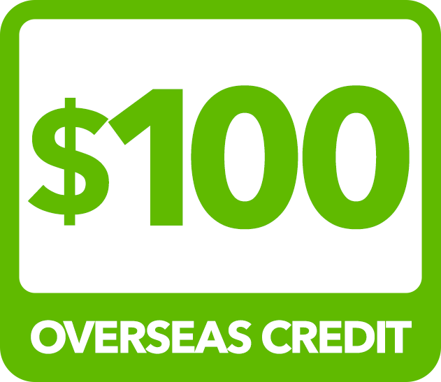 $100 Overseas Credit