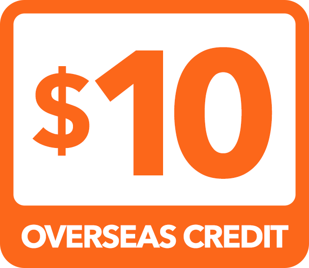 $10 Overseas Credit