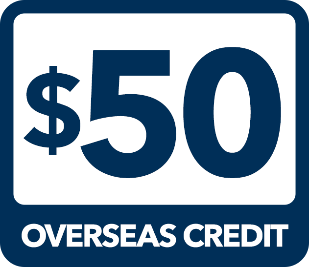 $50 Overseas Credit