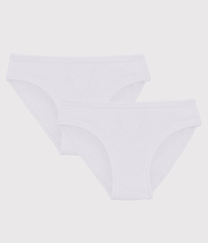 2 Pack Pointelle Cotton Briefs - White - 53318