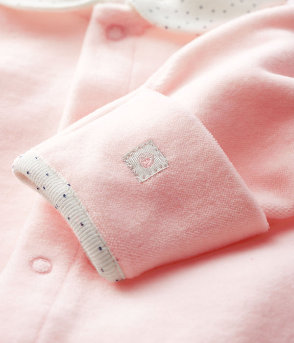 Pink Velour Newborn Sleeper - 5638101