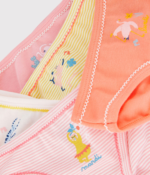 5 Pack of Girls Briefs with Yoga Animals Graphics - 56817