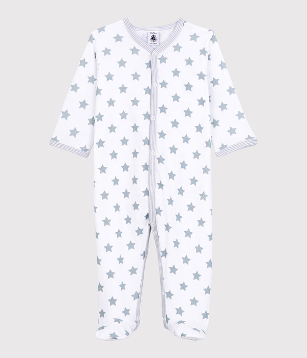 Stars Print Footed Sleeper - White/Grey - A00JB02
