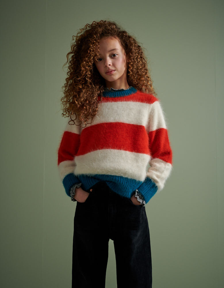 DWEET Red White and Blue Striped Mohair Sweater - STRIPE B