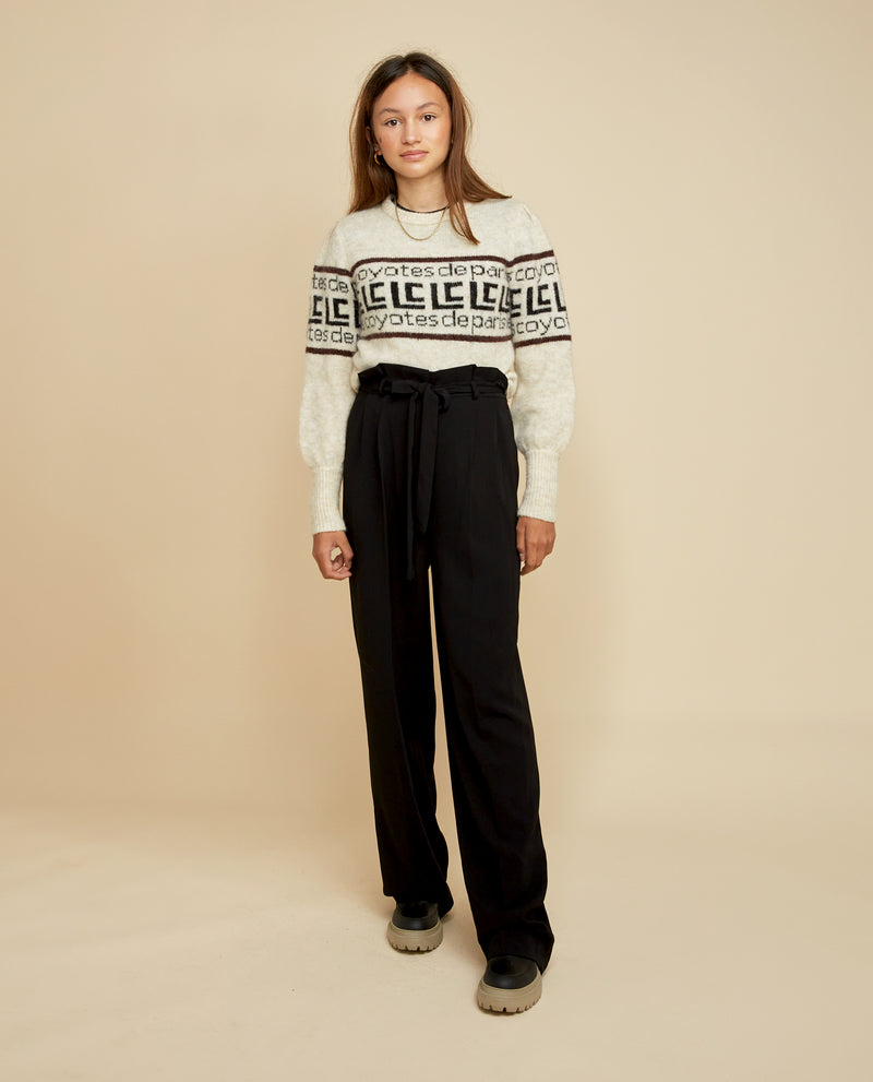 Flo Logo Trim Sweater - Off White